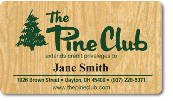 Personalized Plastic Membership Card for 'The Pine Club'