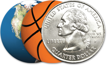 Circle Badges of Earth, a basketball and a quarter.