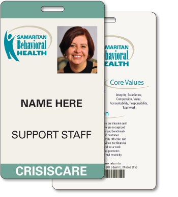 Plastic ID Badge with personalized information for 'Samaritan Behavorial Health'.